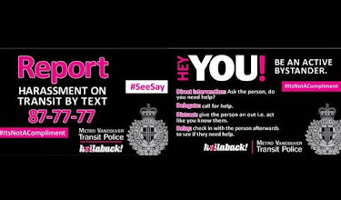 Photo: Vancouver transit police and Hollaback! Vancouver's transit campaign. They distributed flyers on 4/13/15