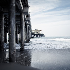 Santa Monica Pier by Winterlyn Stebner - Landscapes Waterscapes ( water, sand, california adventure, sky, waves, santa monica, pier, ocean )