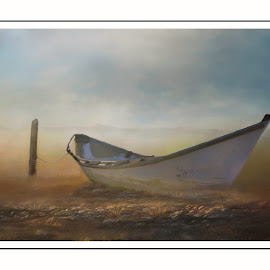 Dory by Rich Reynolds - Digital Art Things ( dory, sunrise, beach, rowboat, morning, boat, mist )