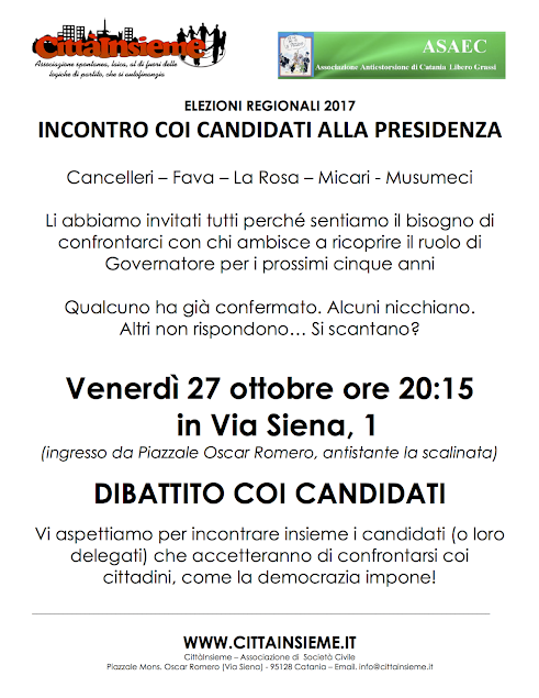 locandina, incontro con i candidati presidenti