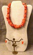 Photo: <BEREHYNYA> {Great Goddess Protectress} unique one-of-a-kind statement jewellery by Luba Bilash ART & ADORNMENT  # 131 SIMPLICITY/ПРОСТОДУШНІСТЬ - coral, silver plate $140/set SOLD