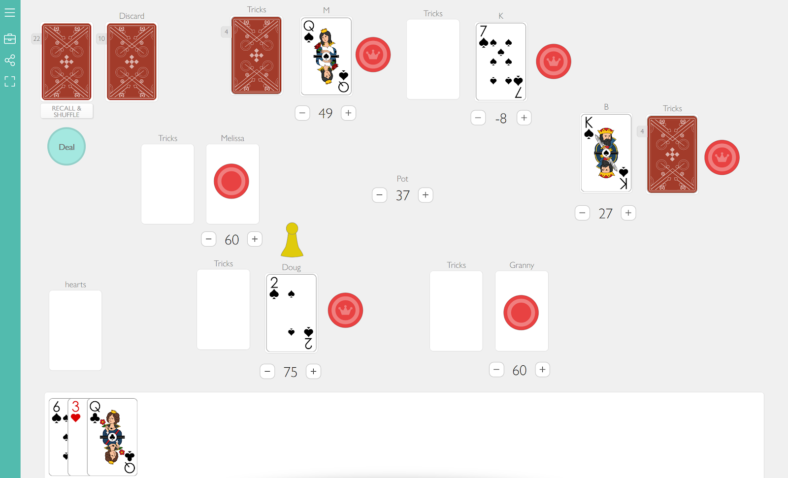 A screenshot of a six-player match of the card game Bourré, as played in the browser on playingcards.io