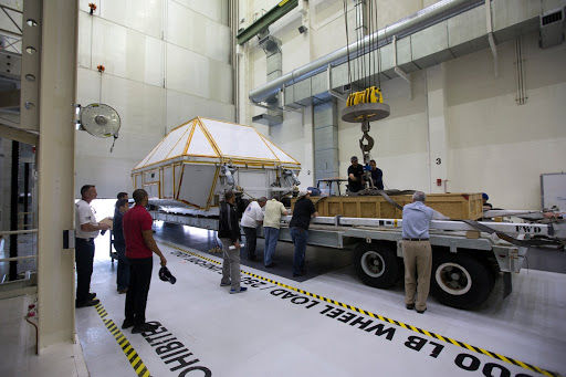 Orion EM-1 Crew Module Structural Test Article Prepped for Trans