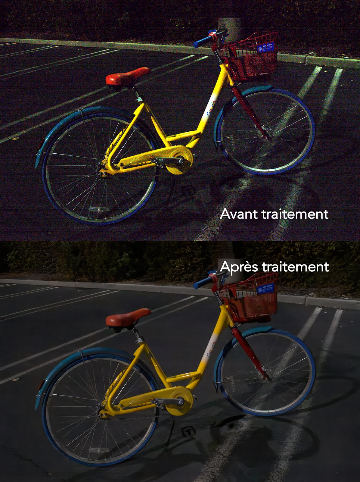 Photo vélo sous-exposée retouchée par une IA