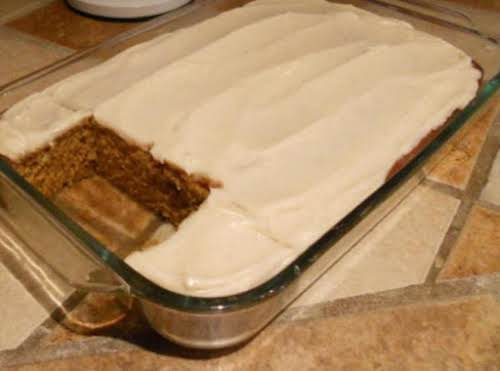 "Pumpkin Spice Cake with Cream Cheese Icing ""Made the cake last night..."