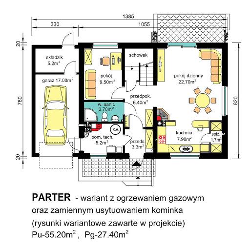 BW-49 - Rzut parteru - propozycja adaptacji - ogrzewanie gazowe