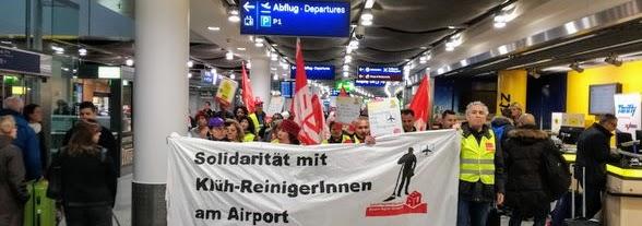 Demo im Flughafengebäude, Transparent: «Solidarität mit Klüh-Reinigerinnen am Airport».