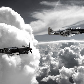 HISTORIC FIGHTER PLANES IN THE CLOUDS  by Gerry Slabaugh - Black & White Landscapes ( world war ii, clouds, fighter planes, p 40 curtiss, wwii, black & white, us army airforce, bw, p 51 mustang, landscape, historic,  )