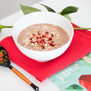 Chocolate Smoothie Bowl with Pomegranate and Hazelnuts