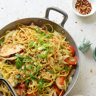 Thai-Inspired Soy Sauce Noodles with Vegetables and Chicken.