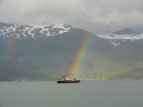 Photo: A rainbow and Coast Guard boat in Chilkoot Inlet.