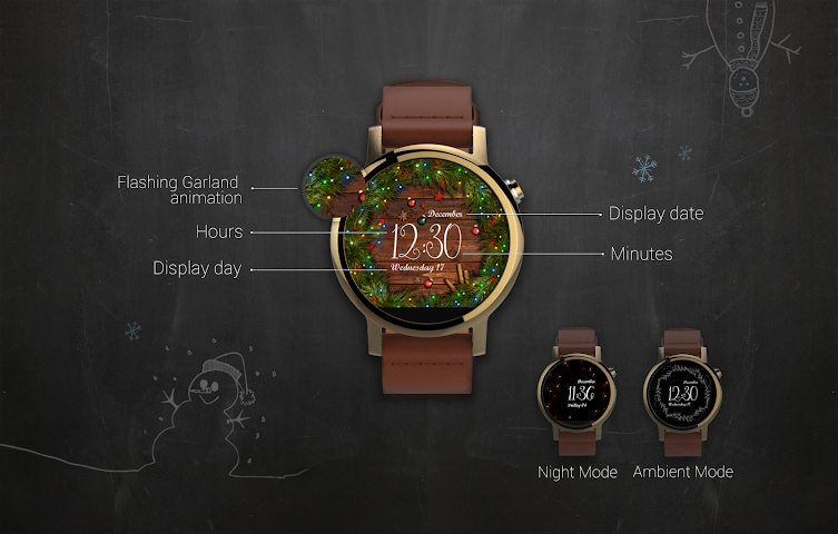 android Watch Face: Christmas Screenshot 2