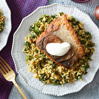 Seared Salmon & Lemon Labneh with Freekeh, Kale & Dates.