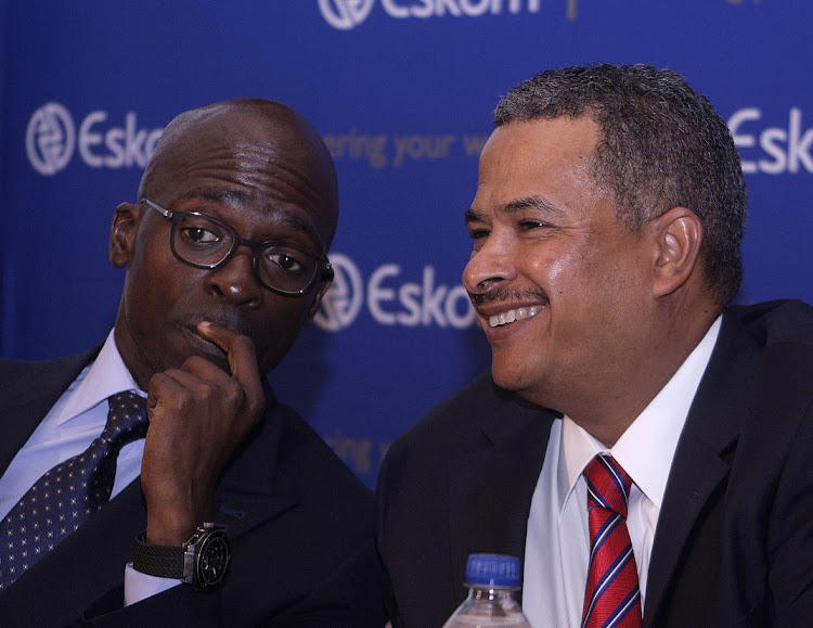 Malusi Gigaba and Eskom CEO Brian Dames address the media in February 2014, when Gigaba was public enterprises minister. PICTURE: PUXLEY MAKGATHO