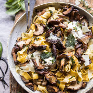 Herby Buttered Wild Mushroom Tagliatelle Pasta.