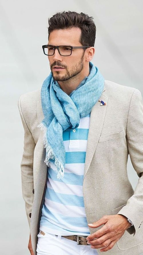 outfit idea for men with light blue scarf, sand jacket and stripe top