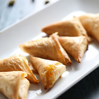 Pistachio & Cream Cheese Fillo Triangles.