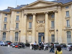"Photo: Around us are many schools (""facs"") of the universities - here, the law school of the Universite Paris Descartes."
