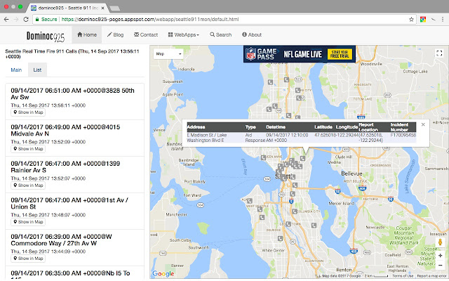 Seattle 911 Dispatch Incidents Monitor on shipping maps, data maps, jail maps, transmission maps, inventory maps, service maps,
