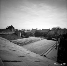 Photo: Frosty roof level view, Pembroke Dock. 37mm focal length 6x6 Fuji ACROSS 100