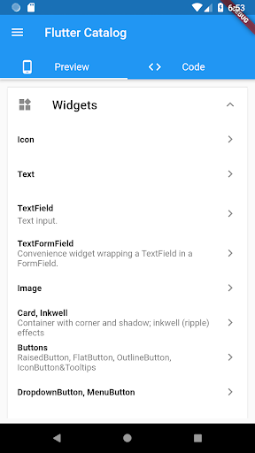 Flutter Catalog with source code side-by-side Apk 2
