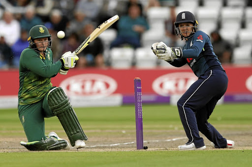 Boundary shot: SA's Lizelle Lee hooks the ball for a four with England's Sarah Taylor behind the stumps during Tuesday's match in Brighton. Picture: REUTERS