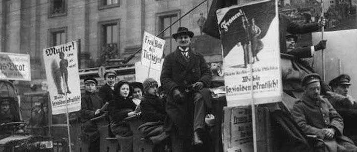 19.1.1919: Wahlpropaganda-Korso der Sozialdemokraten