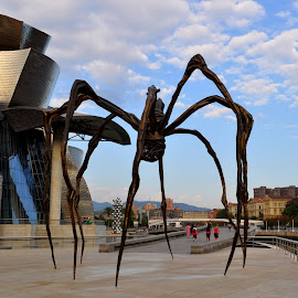 Maman of Bilbao by DJ Cockburn - Buildings & Architecture Statues & Monuments ( vapour, pavement, spain, art, metalwork, city, statue, sculpture, alien invasion, building, structure, nervión river, louise bourgeois, urban, modern, guggenheim museum, cityscape, pedestrian, spider, bilbao, architecture, fog )