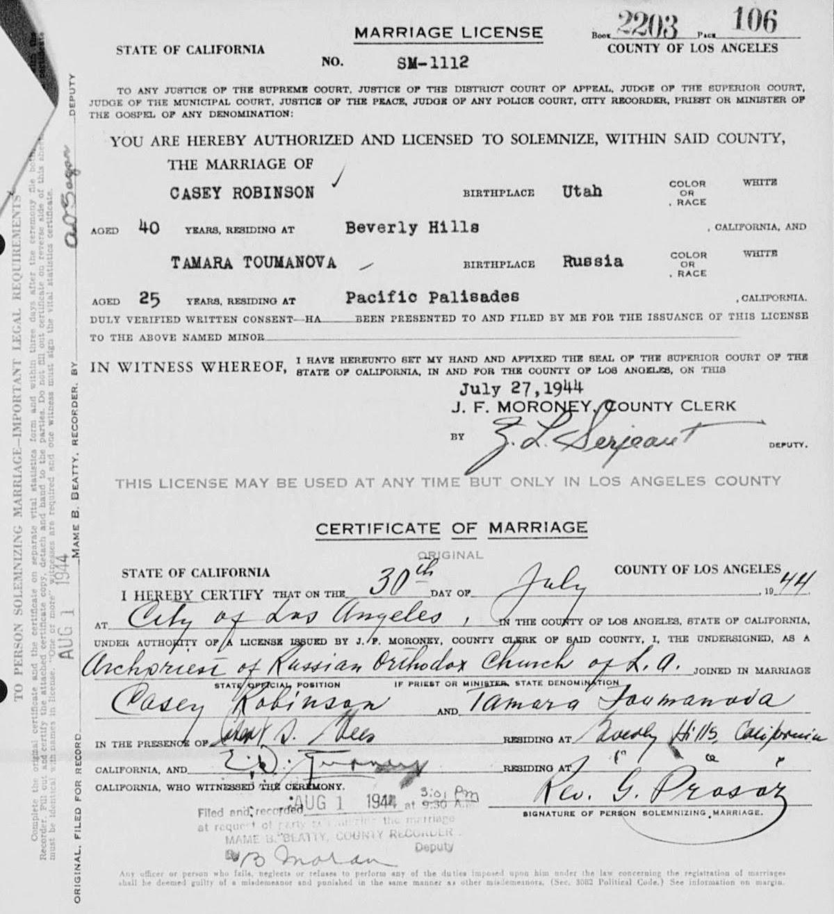 Photo: Тамара Туманова и Кейси Робинсон вступили в брак 30 июля 1944 года