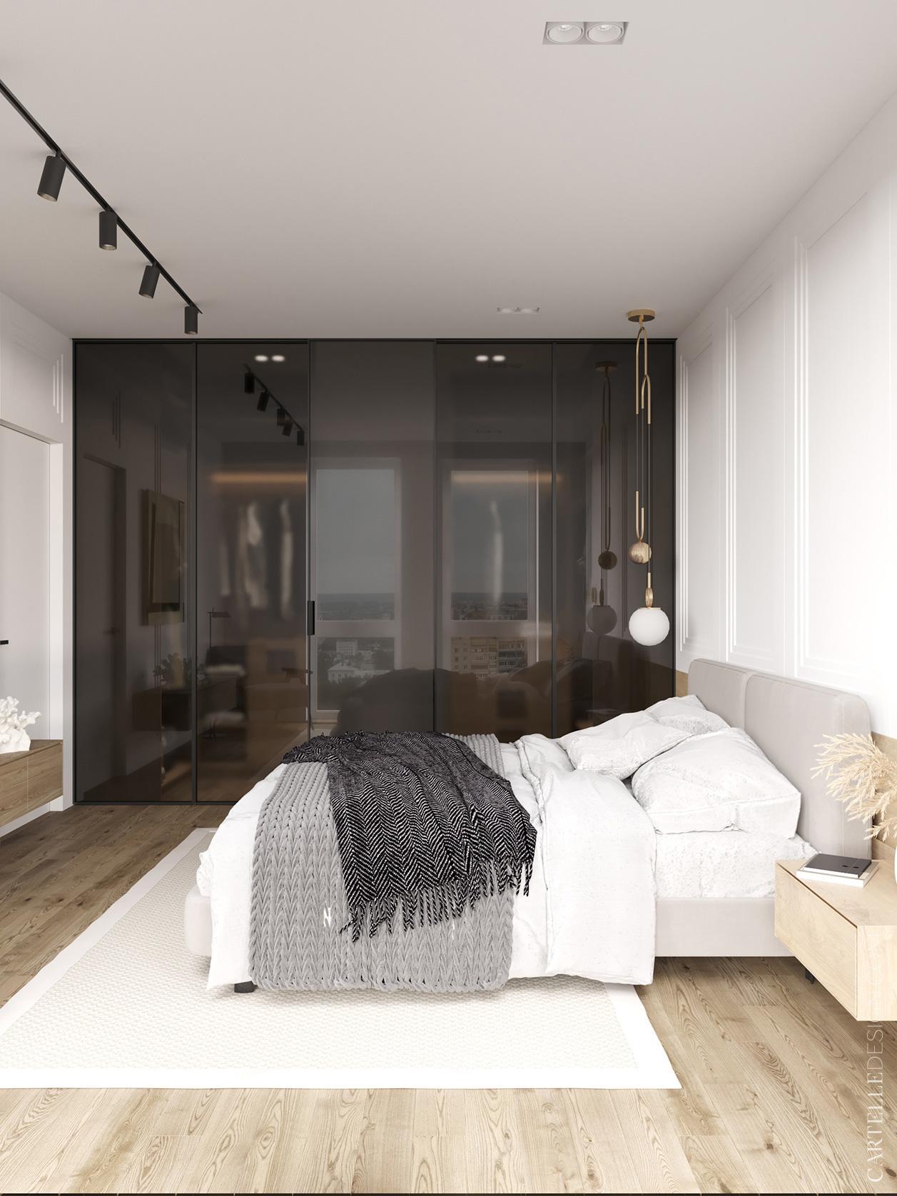 Phòng ngủ có tủ âm tường bằng kính