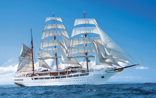 The full-rigged Sea Cloud II sails to the Mediterranean in summer and Caribbean in winter.
