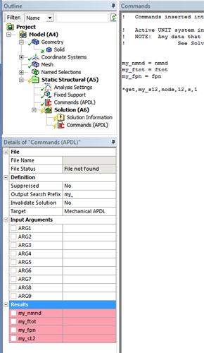 ANSYS в блоке команд APDL необходимо создать переменную
