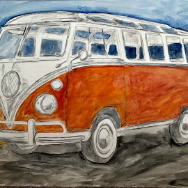 Transporter by Raymond Paul - Painting All Painting ( sky, volkswagen van, van, ocean, vintage, painted, beach, vw bus, restored, vw van, vehicle, transportation )
