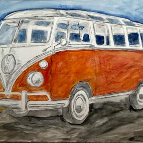 Transporter by Raymond Paul - Painting All Painting ( sky, volkswagen van, van, ocean, vintage, painted, beach, vw bus, restored, vw van, vehicle, transportation )