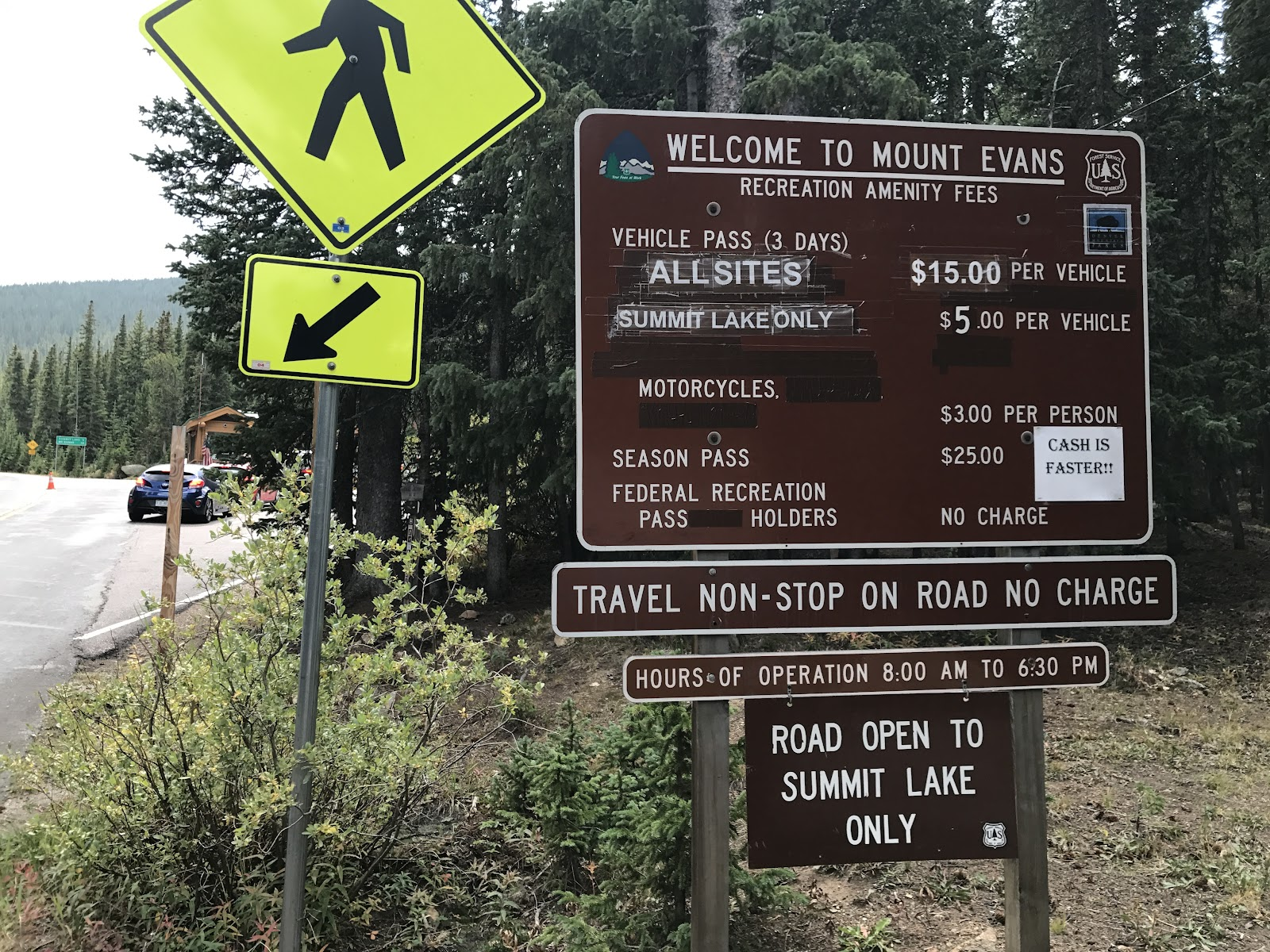 Mount Evans Park entrance sign