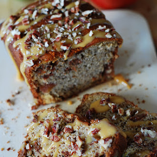 Banana Apple Bread With Caramel Sauce And Pecans.