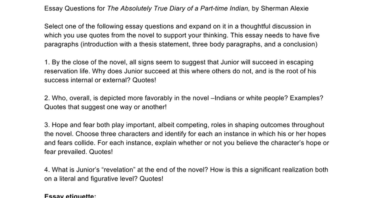 The Absolutely True Diary Of A Part Time Indian Quotes Delectable Essay Questions For The Absolutely True Diary Of A Parttime