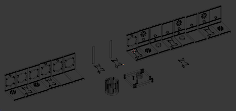 Photo: Here another Blender shot of all the different Wall combinations I made of the front and back. This allows me to print which-ever walls I need for a given task, some with Mad Mare logo's and others with lots of attachment points. :) These are all hand-made, took some time to get them right!