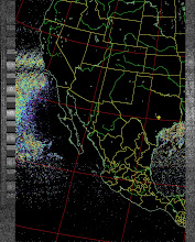 Photo: NOAA 19 northbound 34W at 30 Sep 2012 20:20:02 GMT on 137.10MHz, sea enhancement, Normal projection, Channel A: 2 (near infrared), Channel B: 4 (thermal infrared)