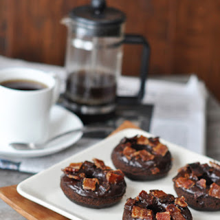 Chocolate Guinness Donuts with Candied Maple Bacon