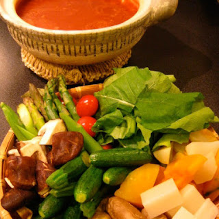 Cheesy Tomato Fondue with Steamed Vegetables