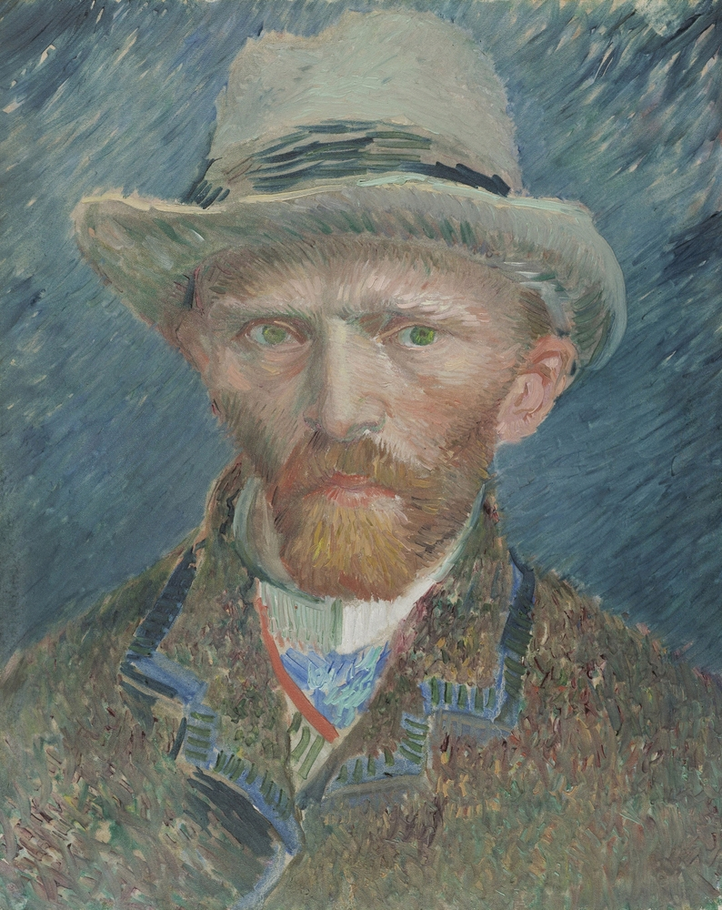The self portrait of Vincent van Gogh in a felt hat, one of the most famous Rijksmuseum highlights.