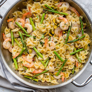 Lemon Asparagus Pasta with Shrimp and Pistachios.