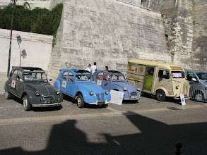 Photo: Parade of Citroen Deux Chevaux. It was first introduced in 1948.