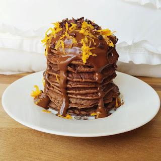 Chocolate Orange Pancakes with a Healthy Raw Chocolate Sauce