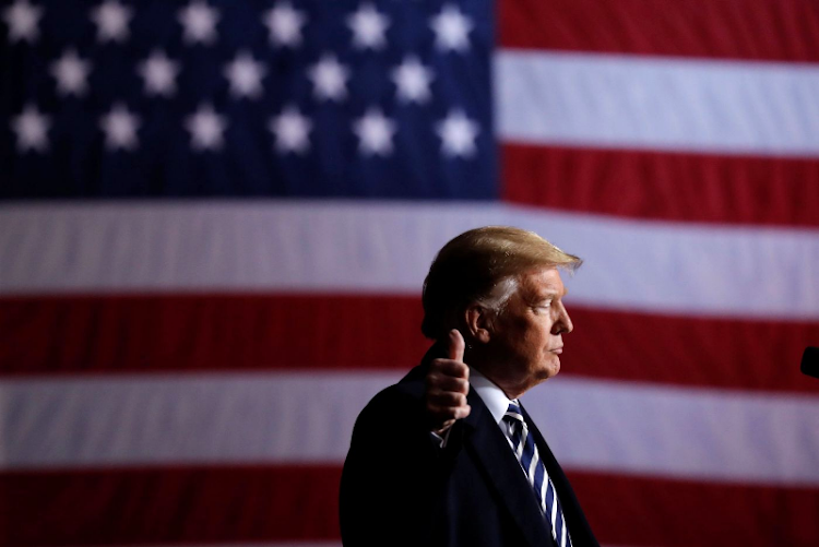 US President Donald Trump at a campaign rally at the Columbia Regional Airport in Columbia, Missouri, the US, on November 1 2018. Picture: REUTERS/CARLOS BARRIA