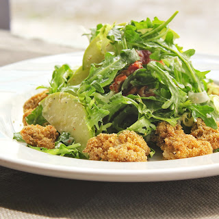 Frisee and Arugula Salad with Pan Fried Oysters and Creamy Fennel Dressing