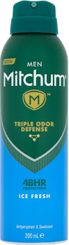 New Mitchum Men Triple Odor Defense Protection Anti-perspirant & Deodorant - Ice Fresh, 200ml