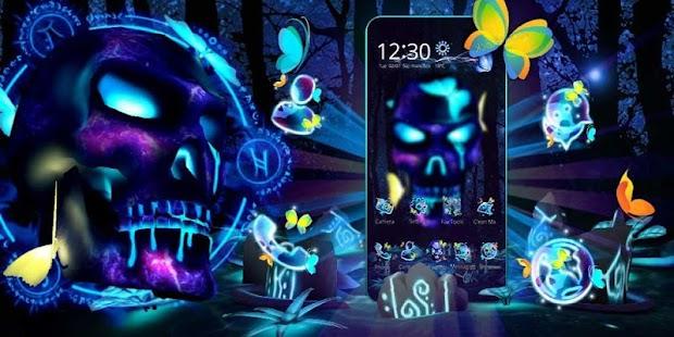3D Neon Skull Butterfly Theme - náhled