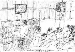 Photo: 收工之後2011.03.30鋼筆 工場收工後,收容人有的看電視,有的寫信,有的閒聊,做了一天忙碌又無聊的手工,接著就是收封進房。